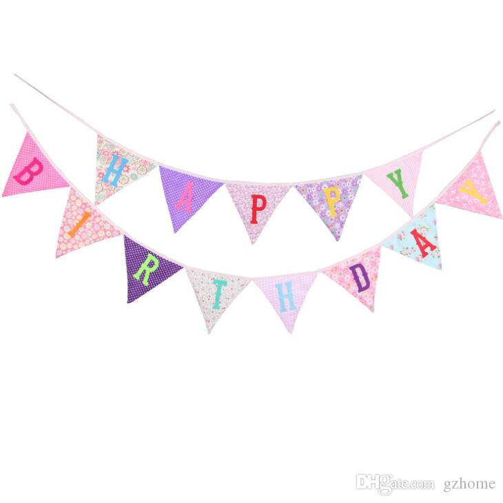 Ready to Hang Happy Birthday Banner Bunting Pre-Strung Multiple Color Bday Sign Colorful Party Decoration free shipping