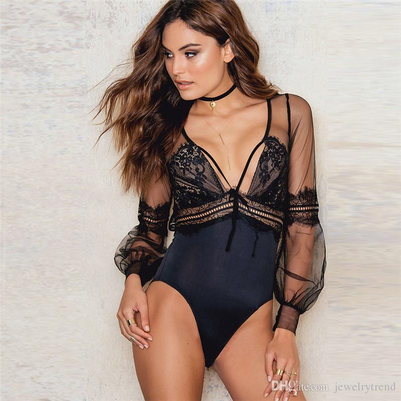 Hot Sexy Pagliaccetti di pizzo donna Body con scollo a V manica lunga Lingerie Lady Backless Body Tuta Catsuit Tute Nero C3958