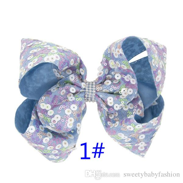 """7"""" Hair Bows for Girls Rainbow Sequin Handmade Hair Clips with Rhinestone Party Large Hairpins for Hair"""