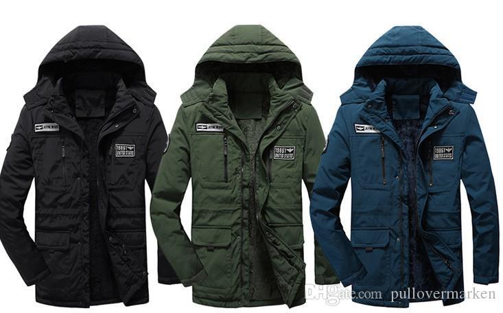 Kontrast-Farben Mens Designer Baumwolle gepolsterte Kleidung Mode Applikationen Reißverschluss Herren-Jacken beiläufiges Mittel Stil mit Kapuze Herrenkleidung