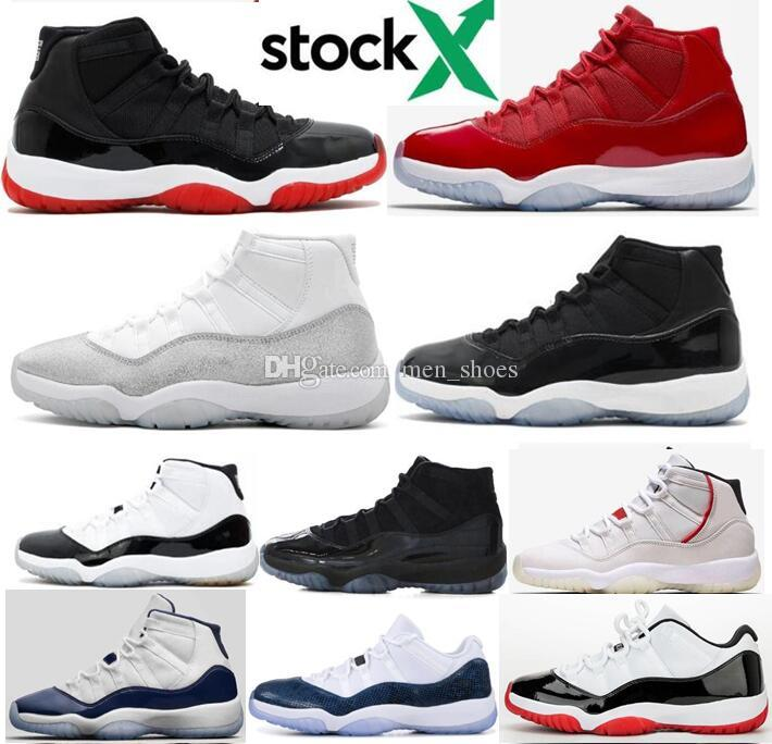 New 11 11s Bred DMP Metallic Silver Space Jam Concord 45 Basketball Shoes Men Midnight Navy Gamma Blue Platinum Tint Sneakers With Box