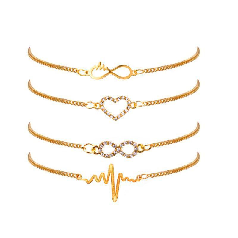 Sıcak Moda Takı Kalp Atışı Bilezik Sekiz Harf Bilezikler Charms Çok Katmanlı Bilezik 4pcs / set