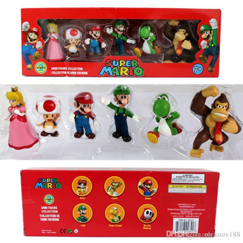 2019 new DONKEY KONG Super Mario Bros Bowser Luigi Koopa Yoshi Mario Car Toad Peach Princess Odyssey PVC Action Figure Model Dolls Toys
