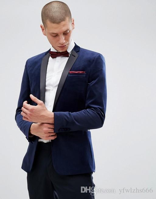 Trajes clásico de pana muesca solapa esmoquin de la boda del ajustado para los hombres de los padrinos Traje de dos piezas de baile juegos formales (chaqueta + pantalones) 772