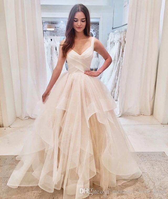 뻗 얇은 명주 그물 나라 웨딩 드레스 2020 새로운 뜨거운 판매 사용자 정의 볼 가운 스파게티 스트랩 공주 신부 가운 Vestios 드 결혼 W171