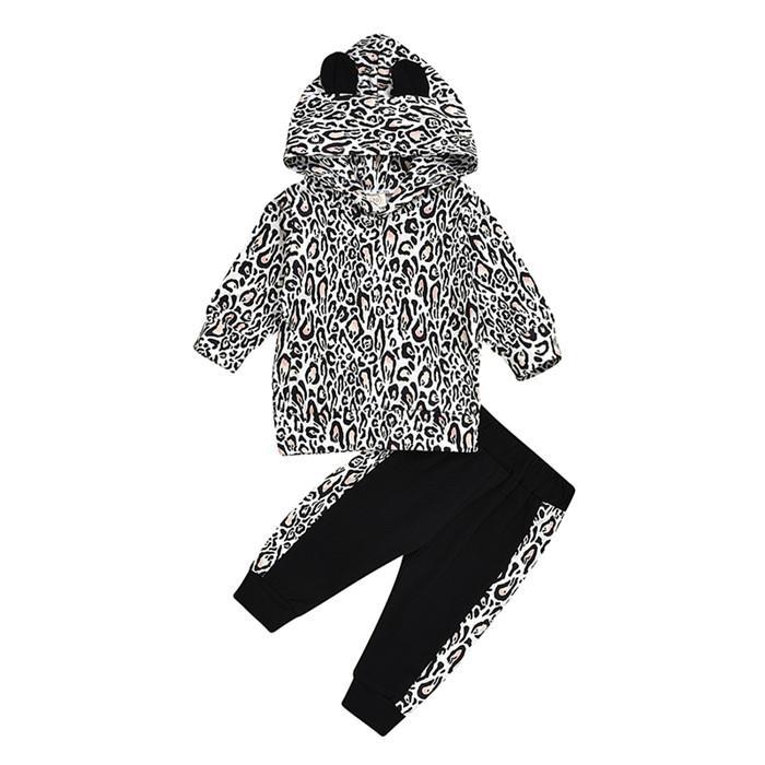 Детская одежда детская одежда детская дизайнер одежда для девочек детские мальчики одежда трексуиты леопардовый печать свитер черный брюки