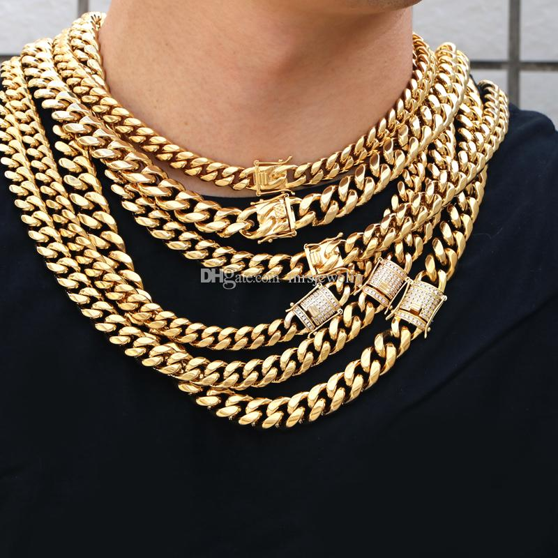 Factory Made Wholesale Prices Stainless Steel 316L 14K Gold PVD Plating Cuban Link Chain in Stock
