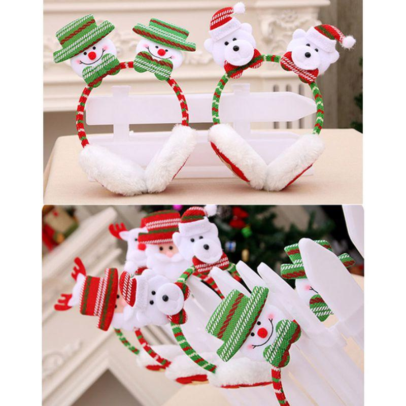 Hot Merry Christmas Cute Cartoon Faux Fur Plush Earmuffs Christmas Headwears For Kids Adults Party Costume Accessories