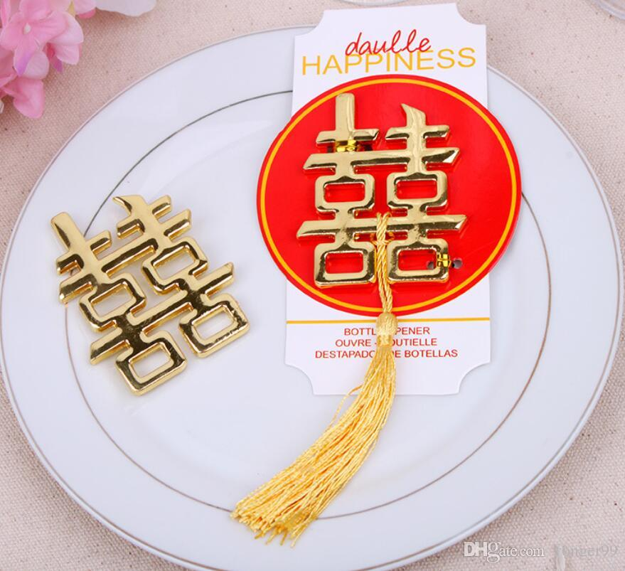 100pcs Chinese Asian themed double happiness bottle opener Wedding Party Favors Wedding giveaways DHL Free shipping