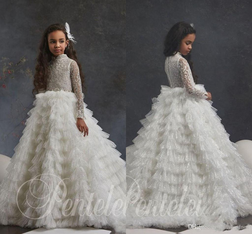 Sparkling Long Sleeves Lace Flower Girl Dresses For Wedding High Neck Sequined Toddler Pageant Gowns Tulle Tiered Kids Prom Dress