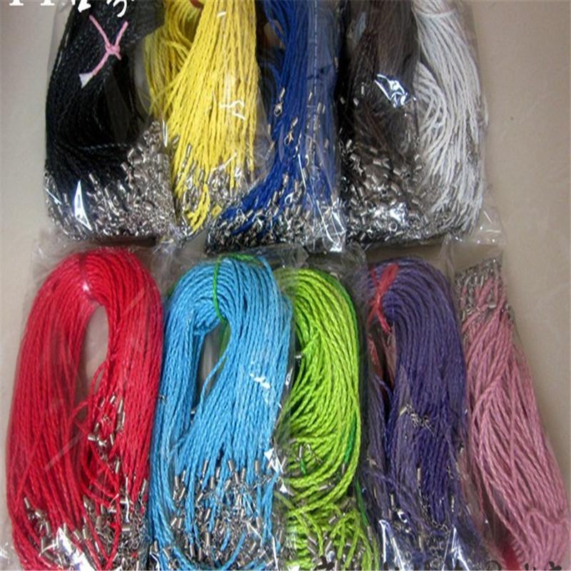 Multicolor-Leder-Seil-Ketten-Halskette für Frauen-Mann-Schnur-DIY Schmuck 100Pcs Lot gesponnene Halskette SF2