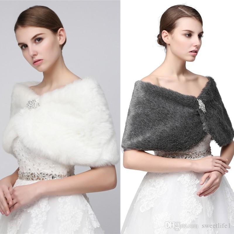 2020 otoño invierno piel de imitación de la estola del abrigo del encogimiento de hombros de la Mujer Chales 17012 para el desgaste de la boda de fin de curso barato caliente de la venta