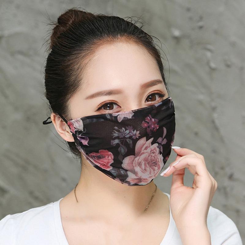 مكافحة الغبار الفم قناع الموضة الزهور ضبط قابلة لإعادة الاستخدام قابل للغسل الغبار لينة قناع الوجه تنفس