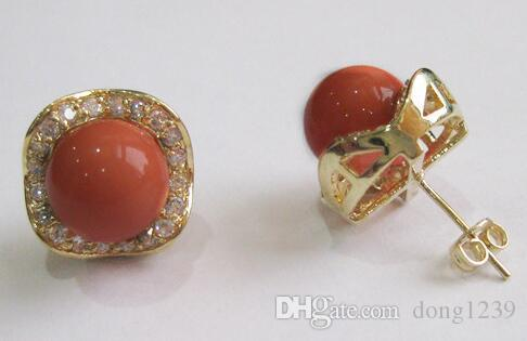 Bijoux en gros de la mode 8mm vin rouge rond en nacre et cristal 18kgp boucle d'oreille # 004
