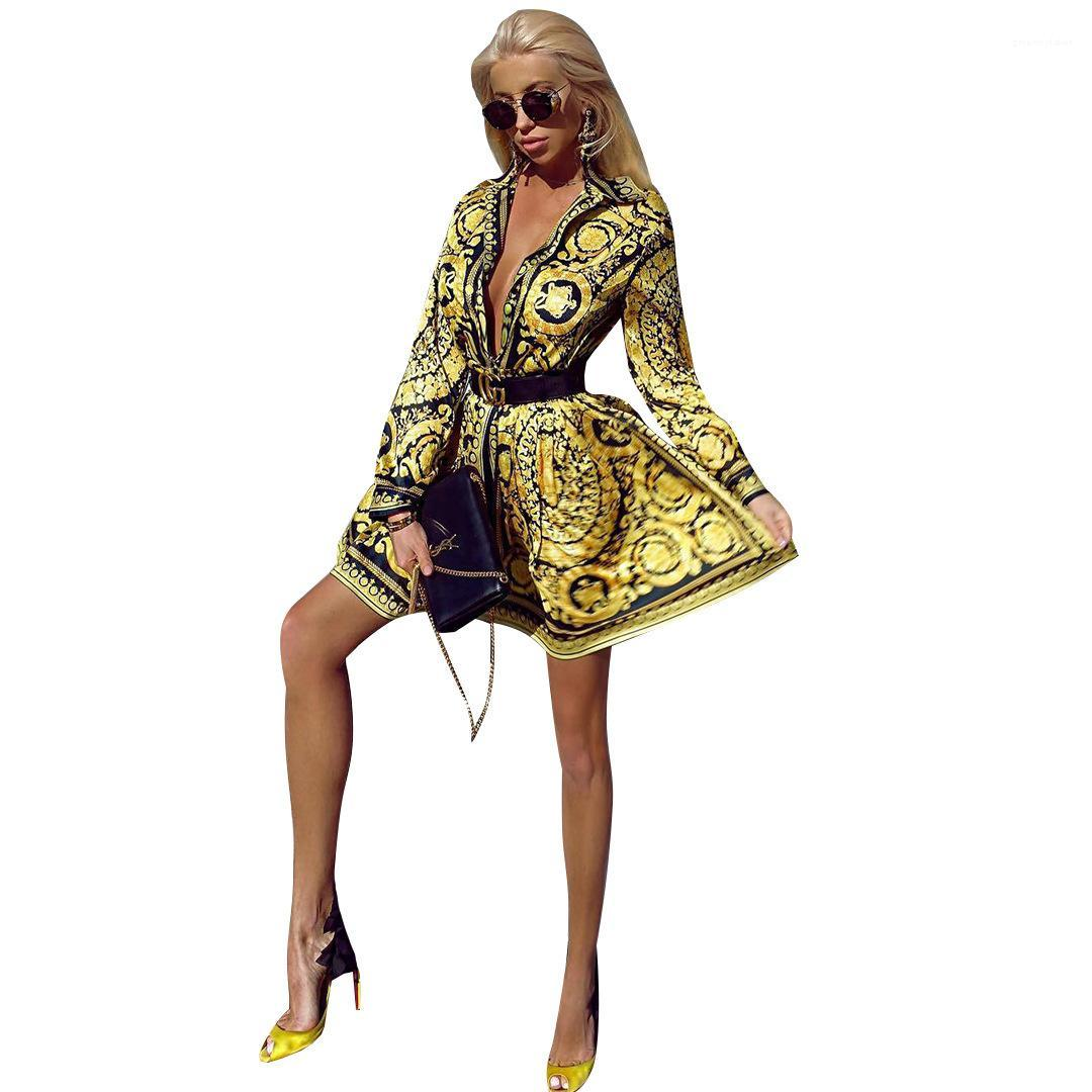 Loose Printed Shirts Long Sleeve Ladies Party Street Clothing Elegant Women Designer V Neck Vintage Blouses Dress Summer