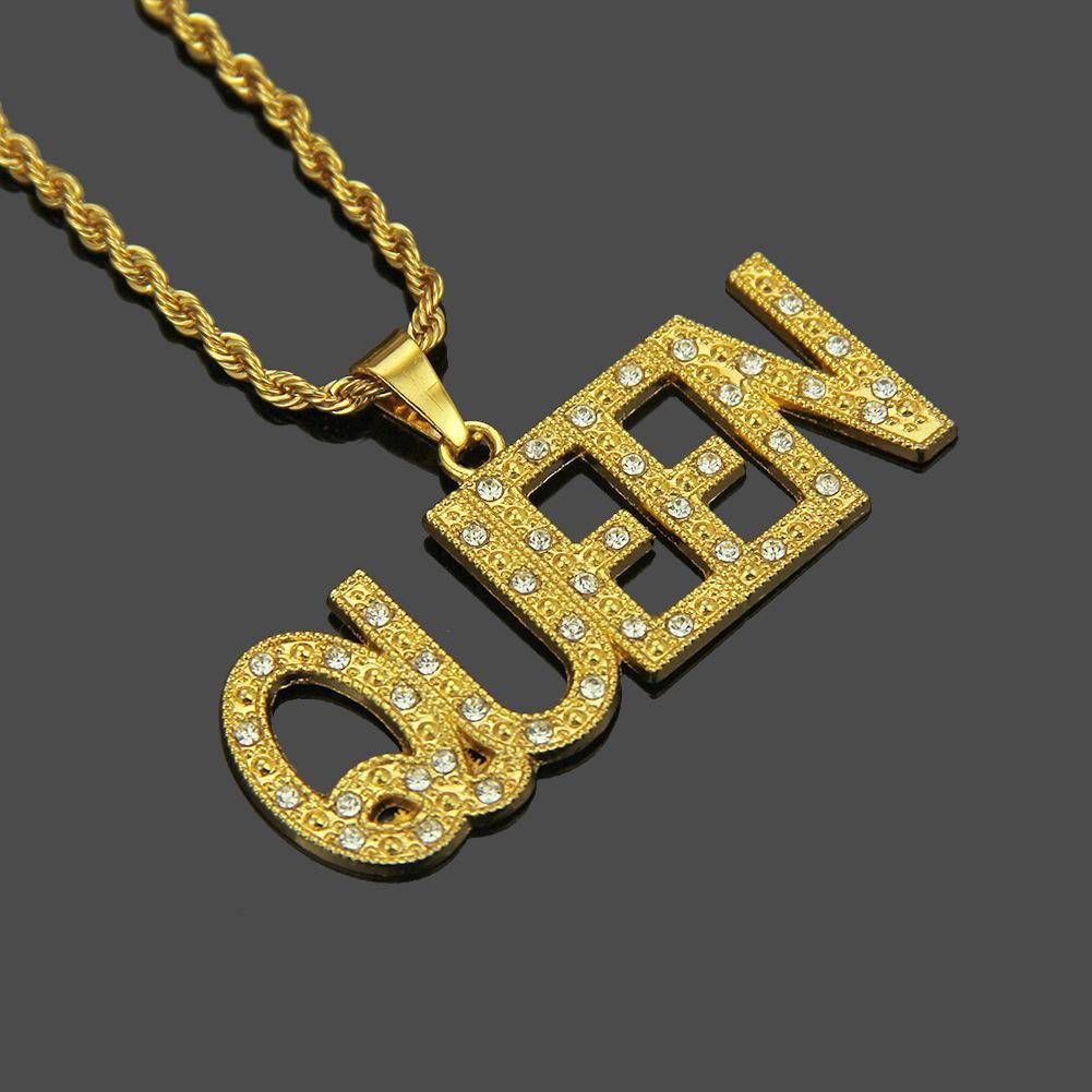 Real de cristal colgante de oro collares largos reina cadena linda Hip Hop partido del collar de la joyería para el regalo de la Mujer Hombre Unisex Caja de regalo