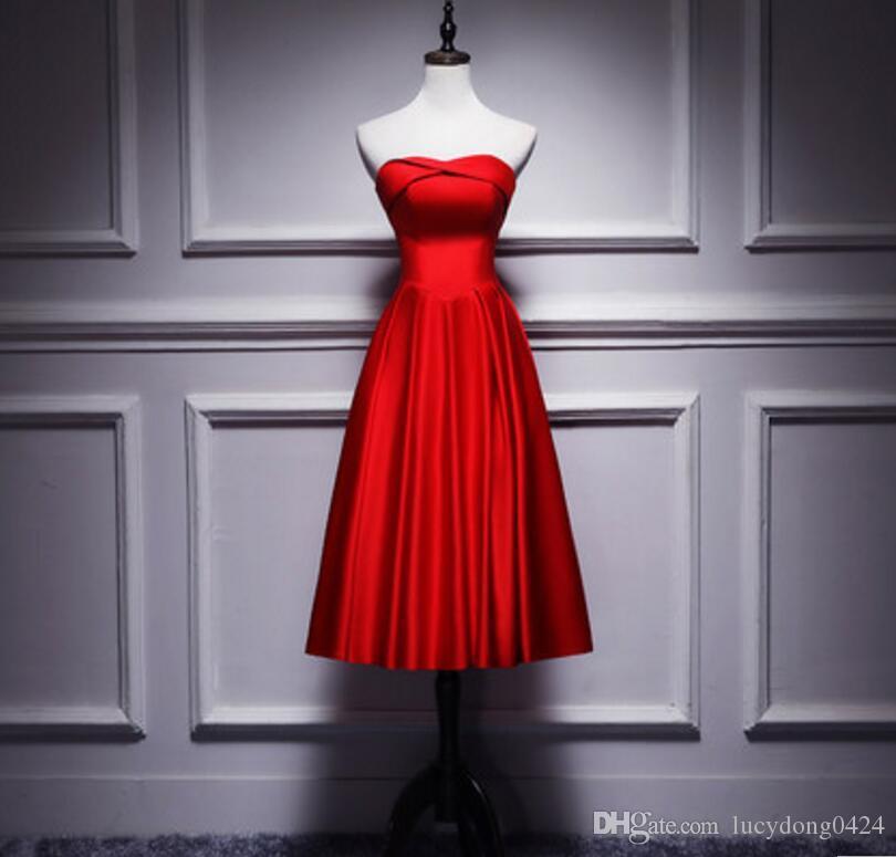 새로운 차 길이 탄성 새틴 아가 신부 들러리 복장 소매없는 간단한 스타일 파티 드레스 레이스 업 뒤로