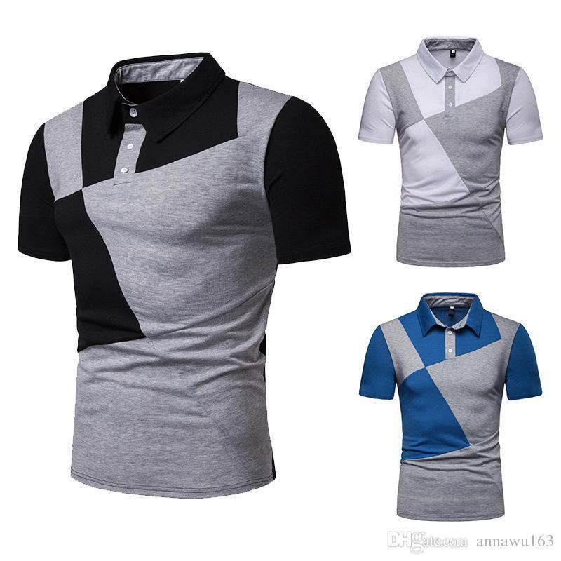 2019 nuevo diseño hombres del verano Polos Contrato de color de manga corta polo camisa de los hombres del remiendo camisetas ocasionales remata el envío libre al por mayor