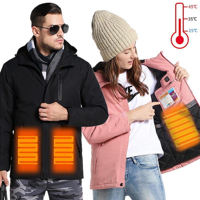 USB jaqueta aquecida homens mulheres inverno outdoor aquecida colete + tamanho homens para baixo algodão caminhadas vestido casaco à prova d'água vestufante