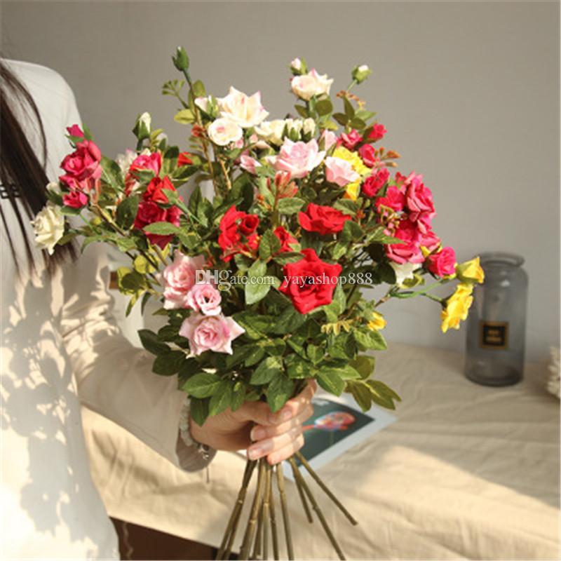 Новый искусственный цветок Real Rose цветок 3 Возглавляет сенсорный Home Decor Свадебный букет Оптовая Поддельные Silk Flowers Plant Wall Венки H153