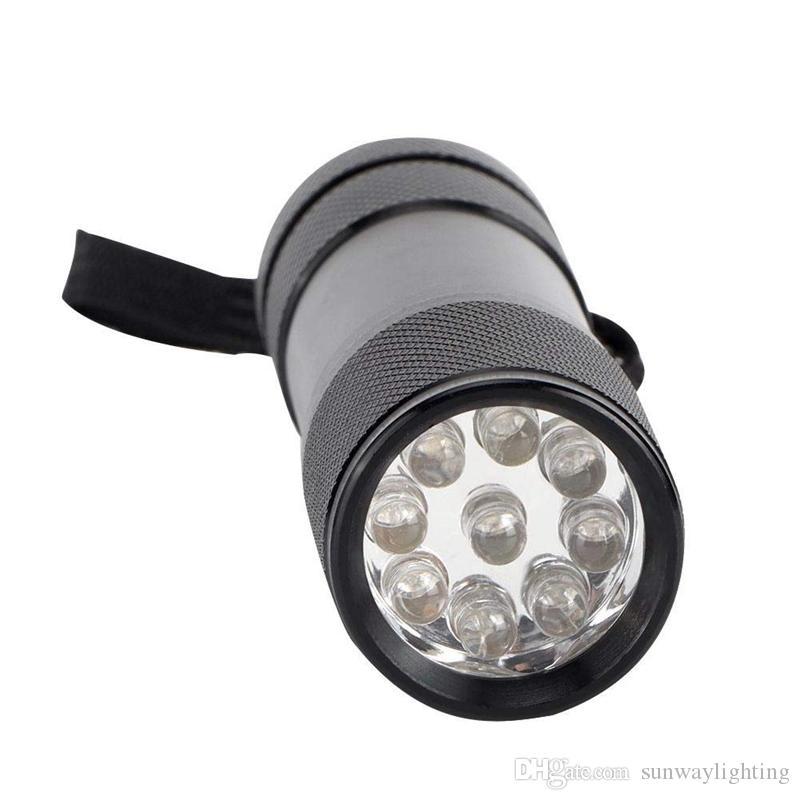 Алюминиевый сплав УФ фонарик Портативные 9 LED Ультрафиолетовый свет факела Невидимого обнаружение Blacklight чернила Маркер Бесплатная доставка DHL