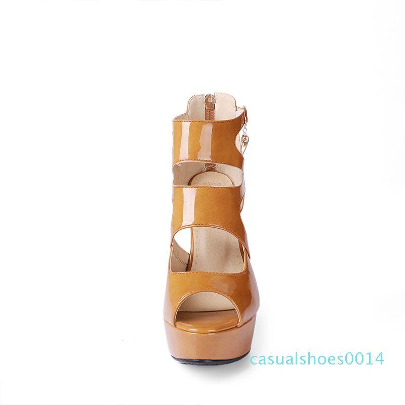 2018-Sommer-Qualitäts-Glanzleder Blickzeheplattform Super High Heel Ankle Zurück Reißverschluss Frauen Sandalen Damenschuhe c14