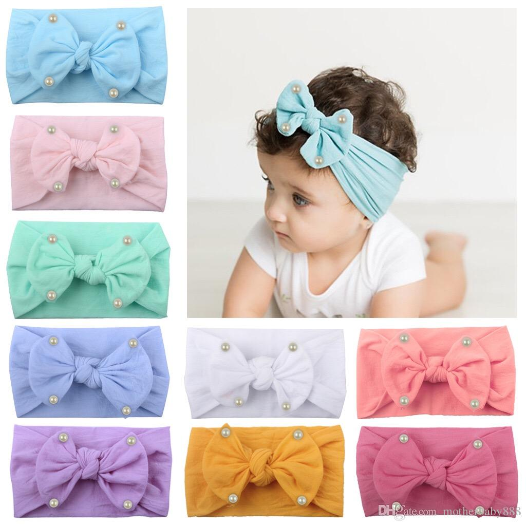 Head Wrap  Stretch Turban Bow Hairband  Bowknot Baby Girls  Nylon Headband