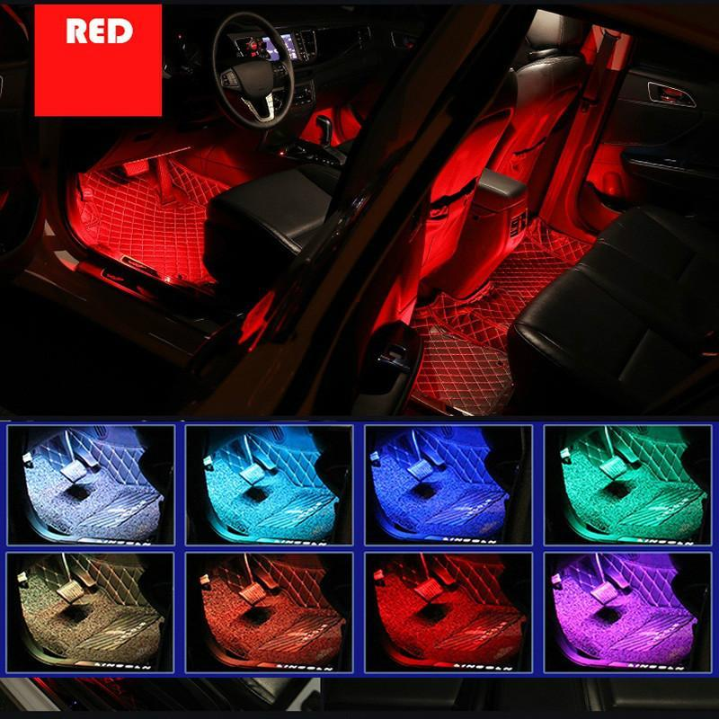 Lot * Novo Led Car Pé Luz Ambiente Lamp com USB remoto sem fios Música Modos de Controle Múltiplo automotivos interiores luzes decorativas