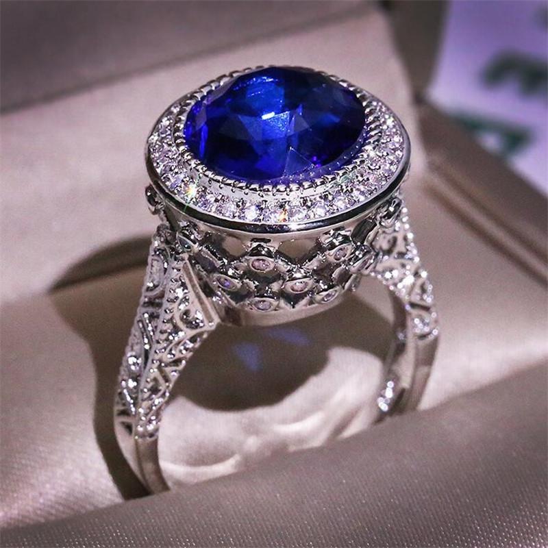 2020 Nuovo Top Selling Vintage Moda Gioielli 925 Sterling Silver Round Tagli Blue Zaffiro CZ Diamond Promise Donne Wedding Crown Band Anello