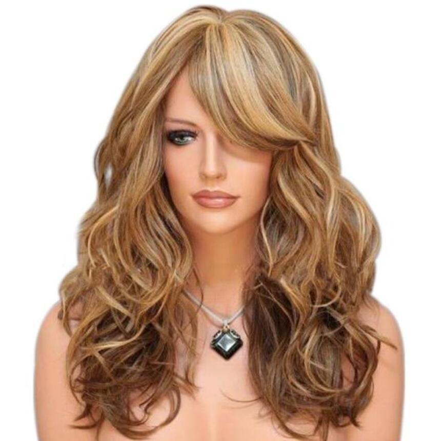 Europei e americani lunga festa capelli delle donne di moda i capelli lunghi ricci Europa e in America prendono tinte giallo dorato a giocare parrucche