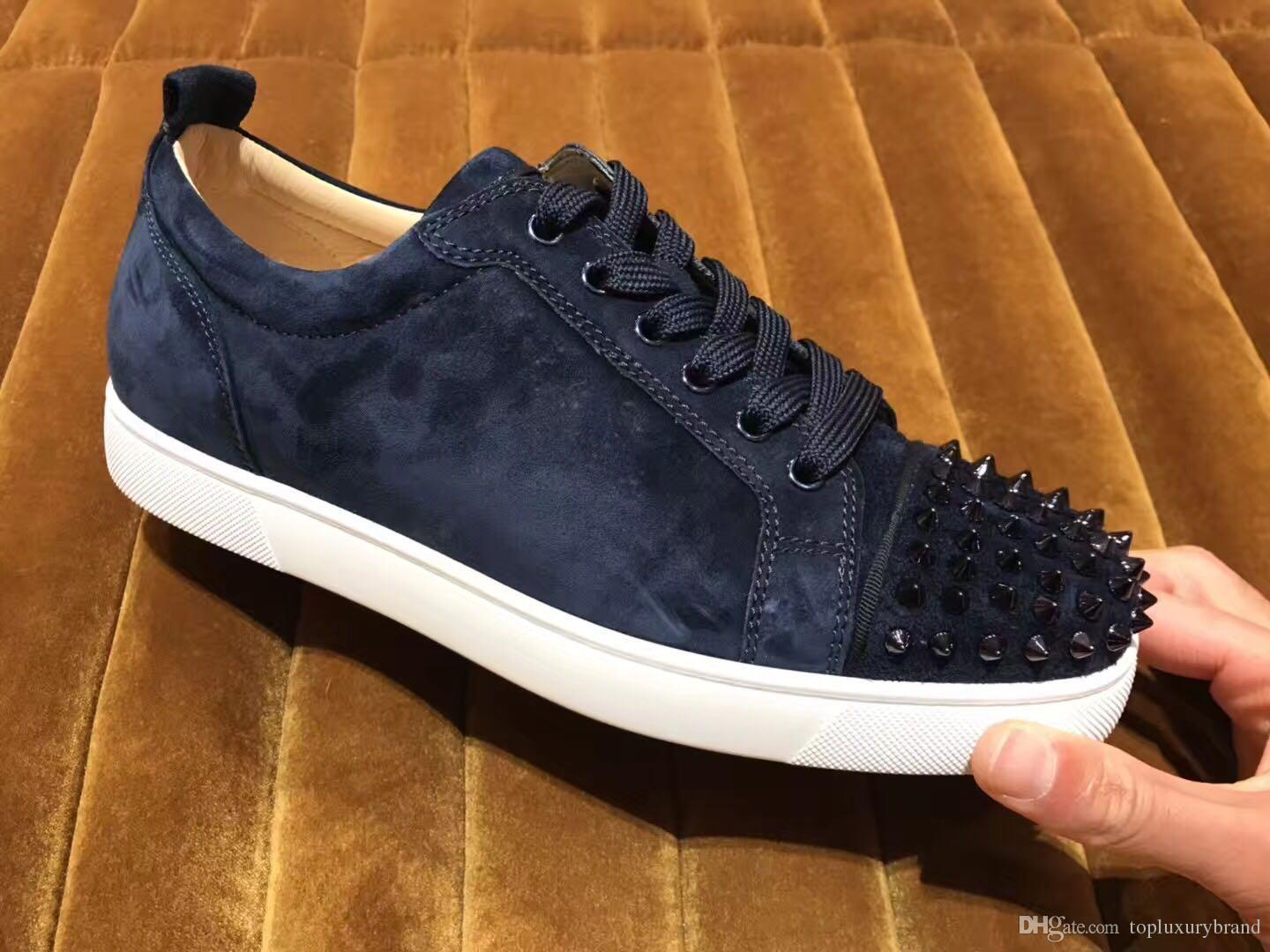 Navy Blue Red Bottom Spiked Sneaker