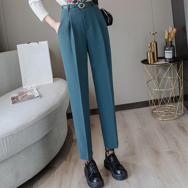Compre Primavera Mujer Pantalones De Talle Alto Sueltos Elegante Formal De La Oficina De La Senora De Los Pantalones Del Tobillo De Longitud A 28 83 Del Xiatian4 Dhgate Com