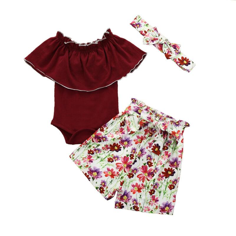 Baby Girl рябить комбинезон боди + цветочный принт шорты + повязка на голову наряды 0-18M UK