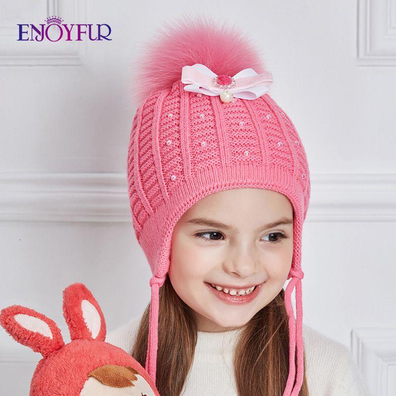 ENJOYFUR Belle-Bow Noeud Tricoté Chapeau bébé fille strass perle chapeaux d'hiver pour les filles coton épais Caps Automne Y191112 Beanies