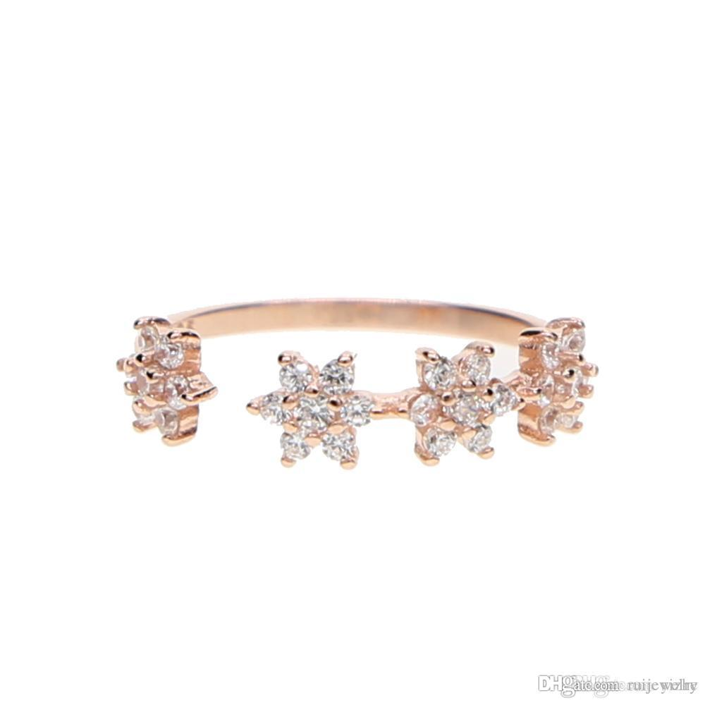 Dainty Rose Daisy Garden Love Ring and Bracelet Set Custom Size