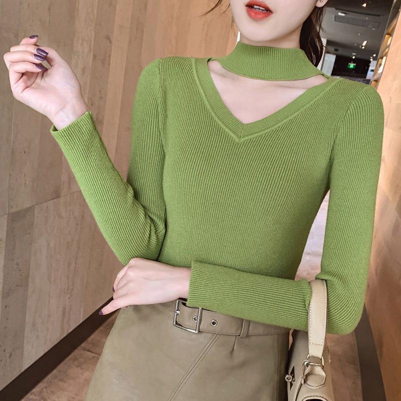 Camisola por Mulheres coreano estilo outono Halter manga comprida malha Jumper Autumn V-neck Inverno Pullover Jumper Pull Femme roupa