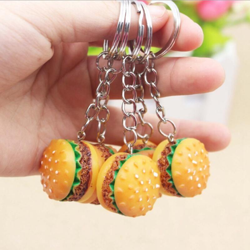 30pcs / серия Моделирования Hamburger Key Chain Креативного кулон сумка Шарм аксессуары ручная работа смола еда ключ автомобиль кольцо Прекрасный брелок