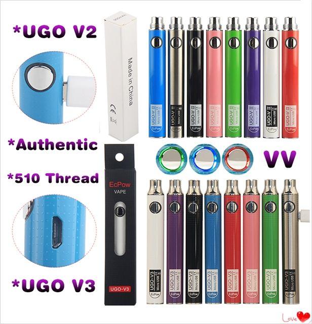 Originale UGO V3 V II 510 Discussione variabile Tensione della batteria Micro USB ricaricabile EGO Vape Pen 650 900 mAh Evod VV Preriscaldare PassthroughCharger