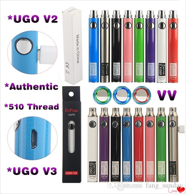Ecpow UGO V3 V II 510 Thread Battery Variable Voltage Micro USB Rechargeable EGO Vape Pen 650 900 mAh Evod VV Preheat Passthrough&Charger