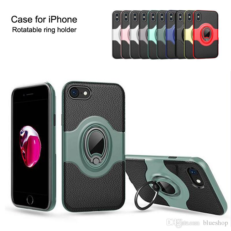 Shockproof phone cases back cover protector magnetism car kit holder rotatable metal ring hand freely holder for iPhone 7 8 XR XS MAX