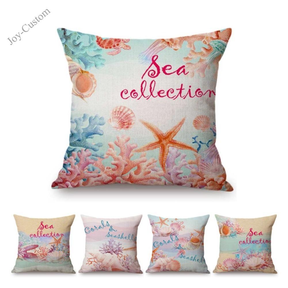 Pink Starfish Jellyfish Coral Seashell Cute Pillow For Home Decoration Letters Aquatic Marine Lives Fundas de cojines de sofá de lino