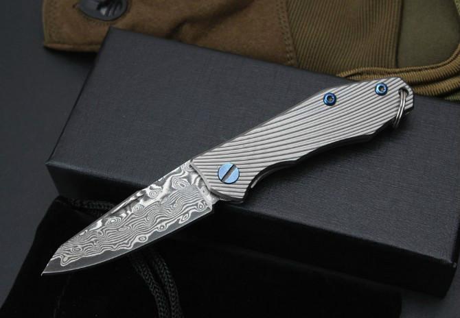 미니 stripeTitanium 핸들 다마스커스 열쇠 고리 포켓 나이프 볼 베어링 포켓 남자 KER을위한 선물 칼을 접는 키 체인