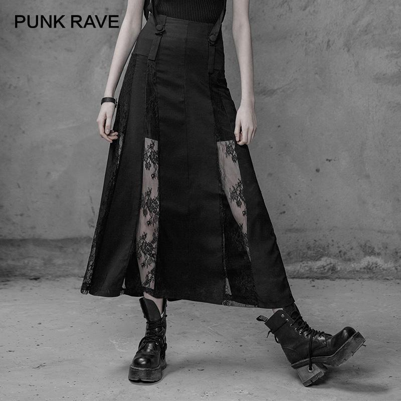الجملة القوطية المرأة مثير الرباط الزخارف أسود تنورة طويلة القوطي الأزياء تفاصيل الرباط والأشرطة القابلة للإزالة على الخصر