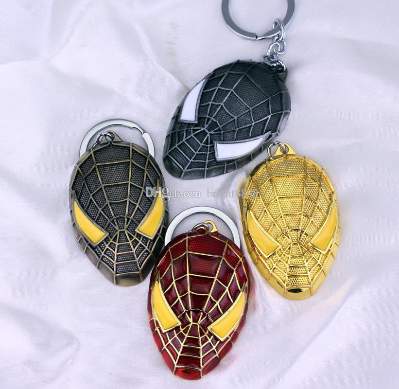 Avengers Süper Kahraman Spiderman Maske Anahtarlık Çinko Alaşım Karikatür Küçük Hediye