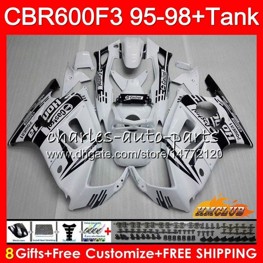 Body + Serbatoio per HONDA CBR CBR600FS 600F3 1995 1996 1997 1998 41HC.134 CBR 600 FS 600cc CBR600 F3 CBR600F3 F3 95 96 97 98 carenature bianco lucido