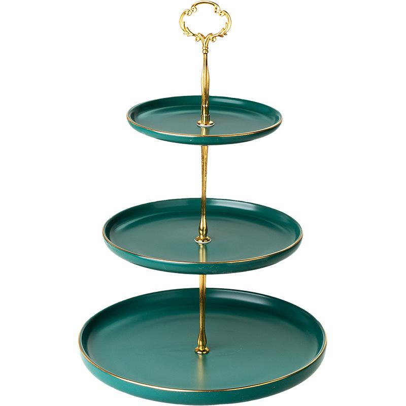 Vintage Green 3 Tier Cake Stand Serving Tray with Gold Rim 2 Layer Cupcake Stand Dessert Platter for Tea Party Wedding Pink Black