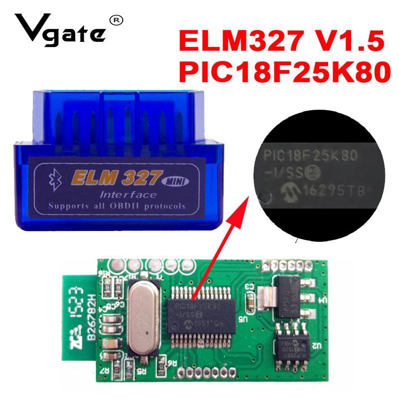Mini ELM327 V1.5 OBD Scanner PIC18F25K80 Double PCB Bluetooth ELM 327 V1.5 OBD2 Car Code Reader for Android/Symbian Scanner