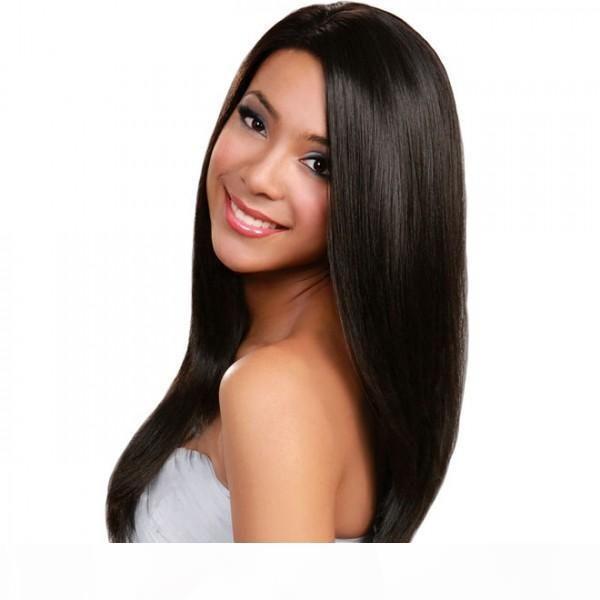 Cabello humano pelucas llenas del cordón Mejor brasileño de la Virgen de Malasia peruana india Camboya recta frontal pelucas de cordón para las mujeres Negro Color Natural