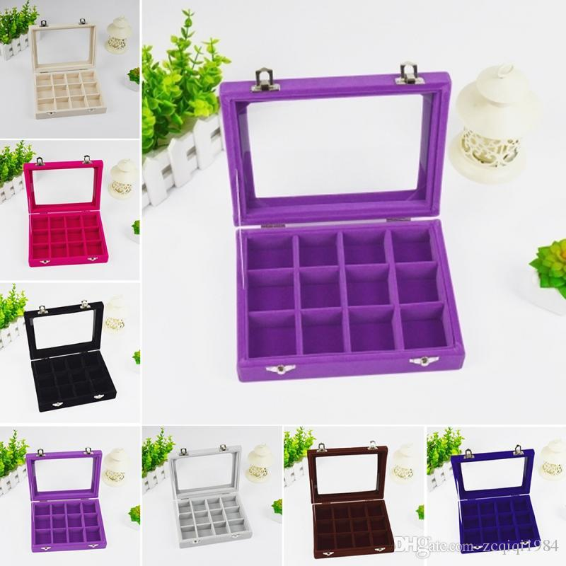 24 Grid Velvet Glass Display box Jewelry Ring Organizer Box Tray Holder Earrings Storage Case Showcase Display Storage 24 Section boxes