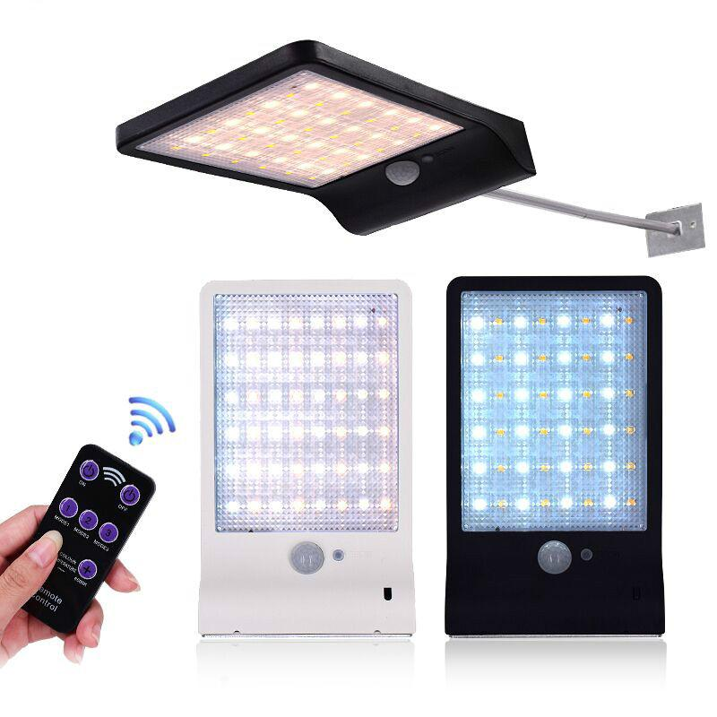 Güneş Açık Duvar Işık 48 LED'ler Güneş Işık Renk Denetleyicisi ile Ayarlanabilir Üç Modu Bahçe Wall Street için Su Geçirmez Lamba Işıkları